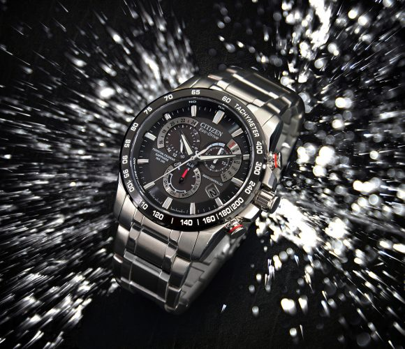 Citizen Watch with water splash.